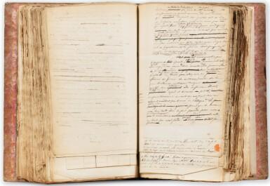 View 1. Thumbnail of Lot 141. ORBIGNY. L'Homme américain. Manuscrit autographe. [Vers 1838]. Fort in-4, demi-chagrin rouge. 550 p..