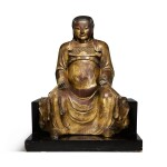 A large gilt-lacquered wood figure of Zhenwu, Ming dynasty   明 木漆金真武坐像
