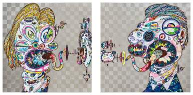 View 1. Thumbnail of Lot 1129. Takashi Murakami 村上隆 | Homage to Francis Bacon (Study for Head of Isabel Rawsthorne and George Dyer) 培根致敬:伊莎貝爾‧羅斯與喬治‧戴爾頭像習作.