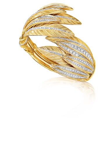 View 2. Thumbnail of Lot 55. VERDURA   GOLD AND DIAMOND 'TIARA FEATHER' CUFF-BRACELET.