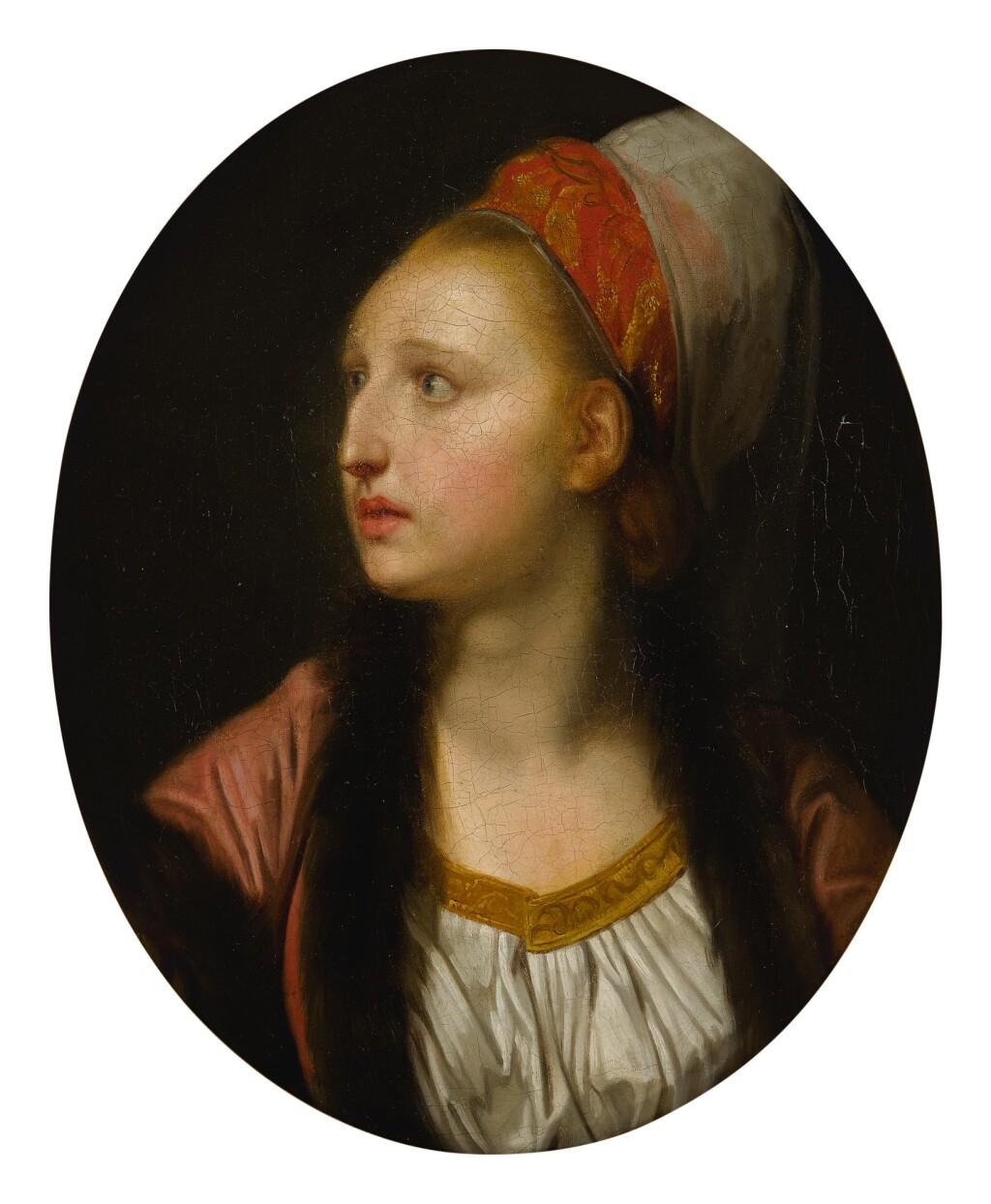 FOLLOWER OF JEAN-BAPTISTE GREUZE   PORTRAIT OF AN ACTRESS AS ROZANNE IN BAZAJET, PROBABLY FRANÇOISE-MARIE-ANTOINETTE-JOSEPH SAUEROTTE, CALLED MADEMOISELLE RAUCOURT (1756-1815), BUST LENGTH