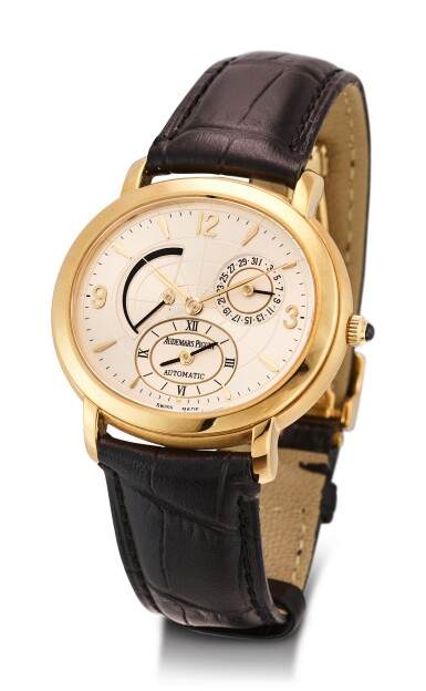 View 2. Thumbnail of Lot 111. AUDEMARS PIGUET | MILLENARY A YELLOW GOLD DUAL TIME ZONE WRISTWATCH WITH DATE AND POWER RESERVE INDICATION, CIRCA 2000.