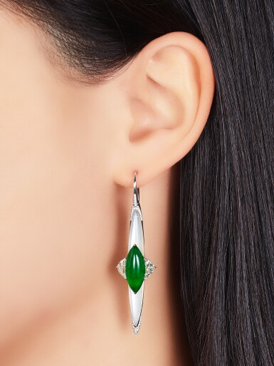 View 3. Thumbnail of Lot 1644. FORMS |Pair of Jadeite, Diamond and Moonstone Pendent Earrings | FORMS | 天然翡翠 配 鑽石 及 月光石 耳墜一對.