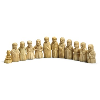 View 1. Thumbnail of Lot 113. A group of twelve carved marine ivory figures depicting Haida and European people, Pacific Northwest Coast, circa 1840.