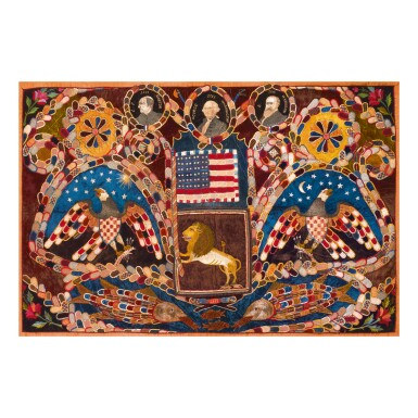 IMPORTANT GEORGE WASHINGTON MEMORIAL PIECED AND EMBROIDERED SILK AND VELVET TAPESTRY, LATE 19TH CENTURY