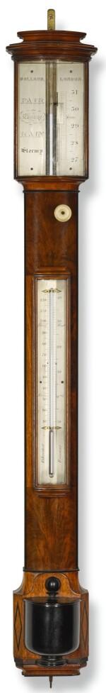 A mahogany bow-front stick barometer, Dolland, London, circa 1850