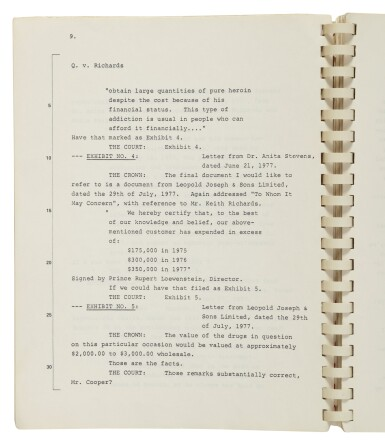 View 3. Thumbnail of Lot 245. [Richards, Keith] | Trial Transcript of Keith Richards' infamous heroin bust. Toronto, Ontario: New Court House, 23-24 October, 1978.