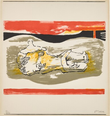 View 1. Thumbnail of Lot 157. Reclining figure with red stripes (Cramer 291).