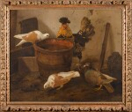 JACOMO VICTORS | THREE PIGEONS AND A ROOSTER BY A PAIL OF WATER