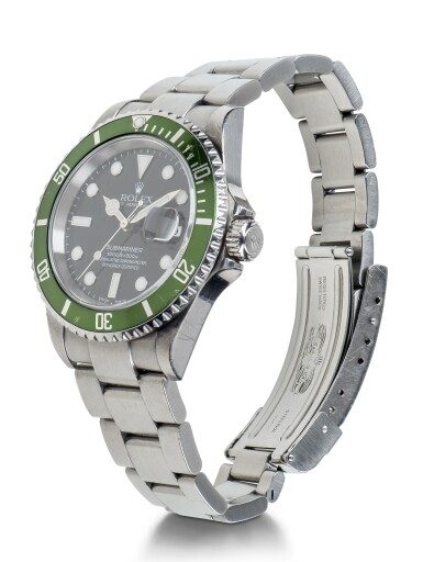 View 2. Thumbnail of Lot 1. ROLEX | 'KERMIT FLAT 4' SUBMARINER, REF 16610LV STAINLESS STEEL WRISTWATCH WITH DATE AND BRACELET CIRCA 2003 .