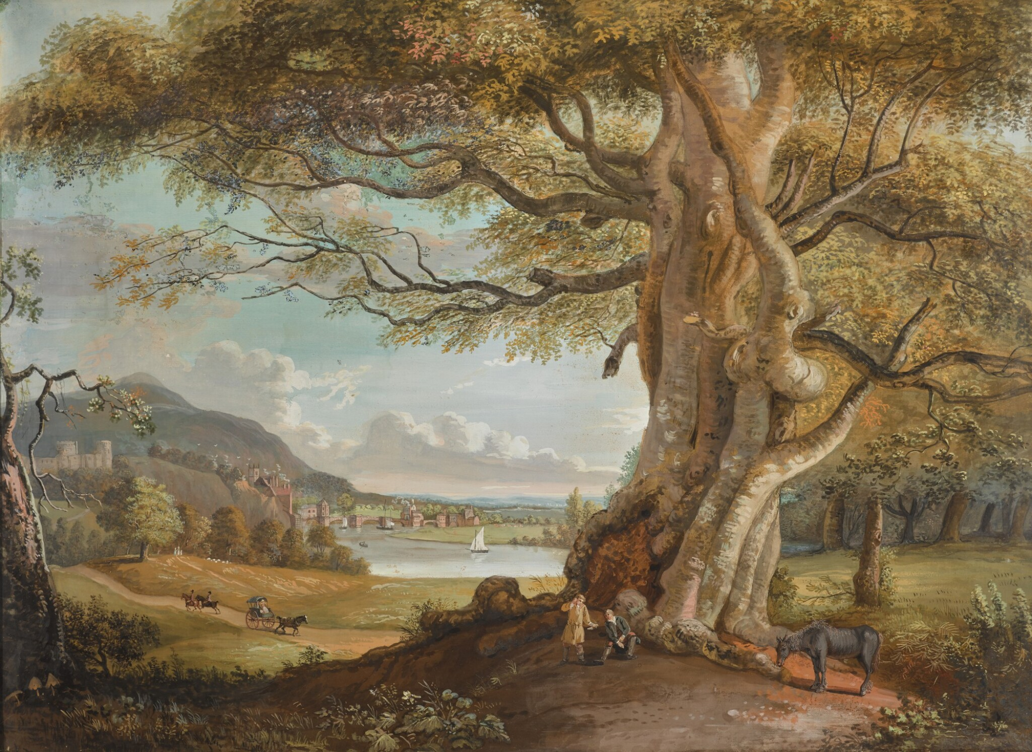 View full screen - View 1 of Lot 601. PAUL SANDBY, R.A.   An extensive pastoral landscape with figures and a horse beneath a tree, a riverside town in the middle distance.