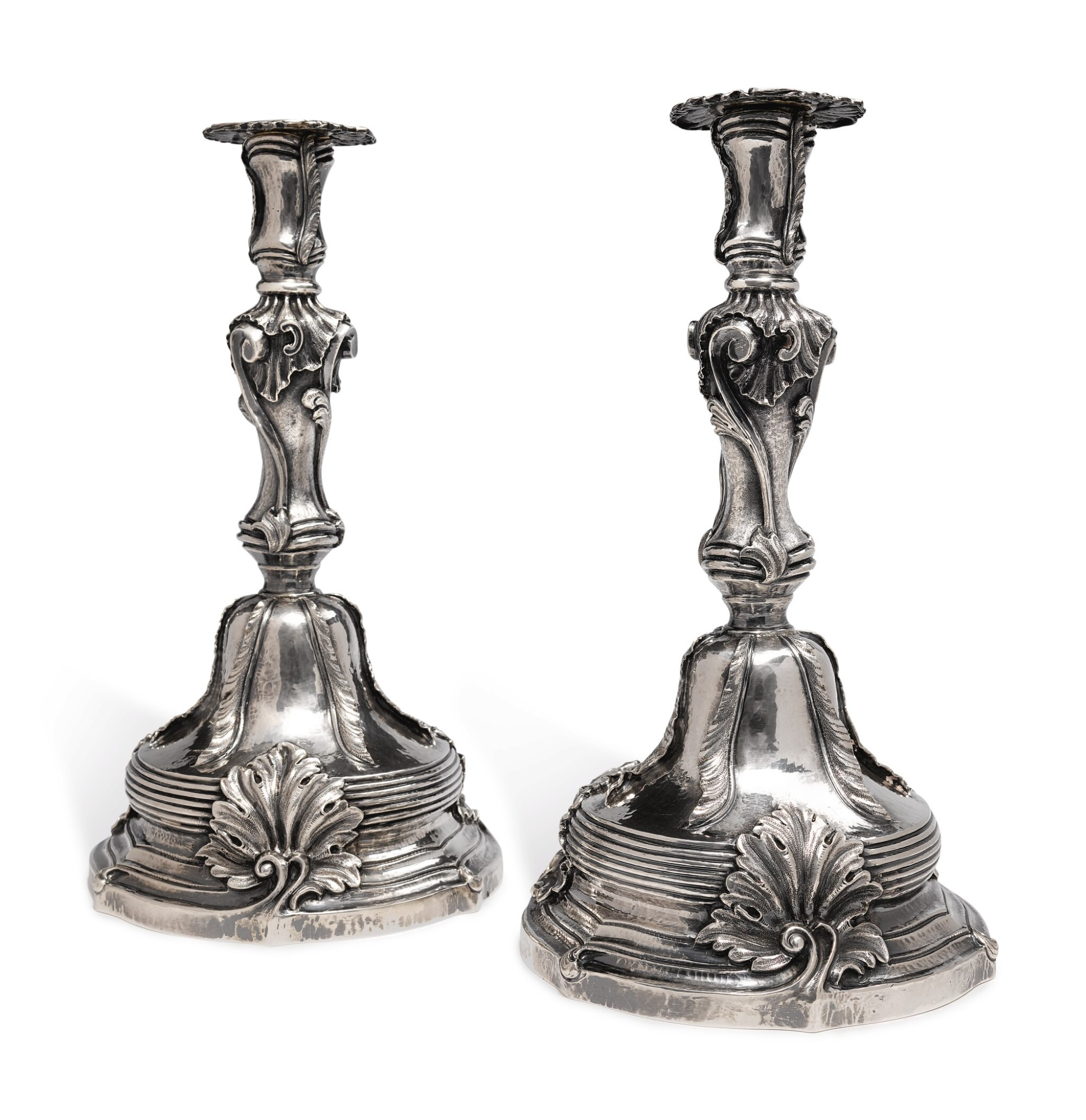 View full screen - View 1 of Lot 245. A PAIR OF ITALIAN SILVER CANDLESTICKS, BUCCELLATI, 20TH CENTURY.