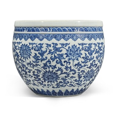 View 2. Thumbnail of Lot 74. A blue and white 'floral' fishbowl, Qing dynasty, 18th century | 清十八世紀 青花纏枝蓮紋缸.