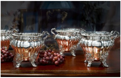 A SET OF FOUR GEORGE IV SILVER WINE COOLERS, ROBERT GARRARD & BROTHERS, LONDON, 1827
