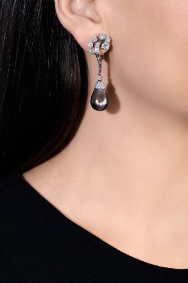 View 4. Thumbnail of Lot 660. Bulgari | Pair of natural pearl and diamond pendent ear clips, circa 1957 | 寶格麗 | 天然珍珠配鑽石耳墜一對,約1957年.
