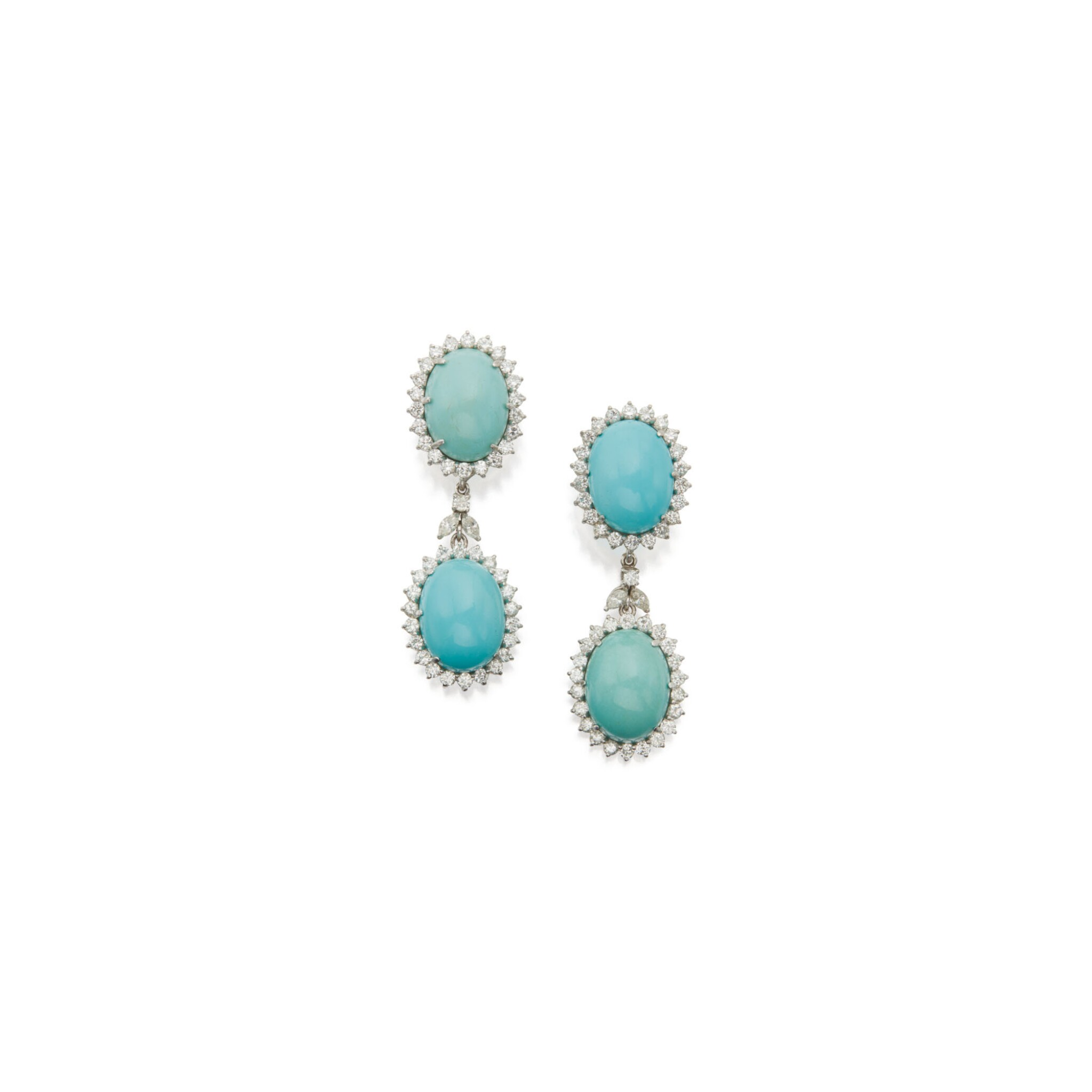 View full screen - View 1 of Lot 28. PAIR OF TURQUOISE AND DIAMOND PENDANT-EARCLIPS.