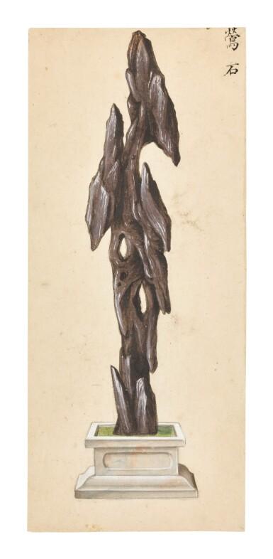 View 1. Thumbnail of Lot 361. A SET OF SIX PAINTINGS OF SCHOLAR'S ROCKS QING DYNASTY, 19TH CENTURY | 清十九世紀 《賞石圖》一組六幅.