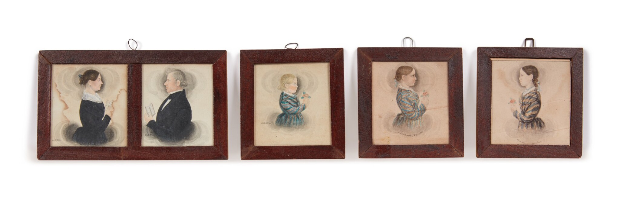 View full screen - View 1 of Lot 6. Group of Five Miniature Portraits of the Pomeroy Family.
