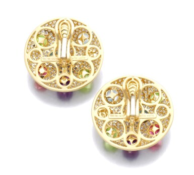 View 3. Thumbnail of Lot 1. MICHELE DELLA VALLE | PAIR OF GEM SET AND DIAMOND EAR CLIPS.