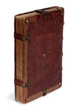 Calderinus, Venice, 1482 & 1487, contemporary Italian tooled calf, eleventh-century manuscript flyleaves