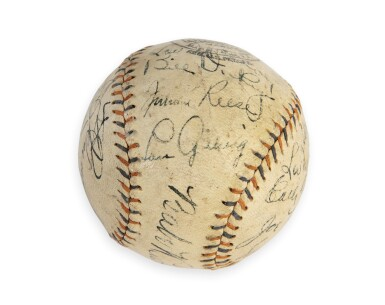 View 5. Thumbnail of Lot 146. New York Yankees | 1931 New York Yankees Autographed Baseball, signed by 10 Hall of Famers, from the Copeland Collection.