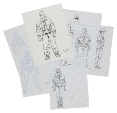 View 4. Thumbnail of Lot 41. ED PISKOR | Original artwork & designs for Public Enemy action figures, w/ original set of action figures.