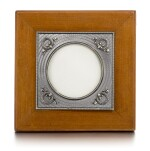 A Fabergé silver-mounted and guilloché enamel palisander wood photograph frame, workmaster Anders (Antti) Nevalainen, St Petersburg, 1899-1903