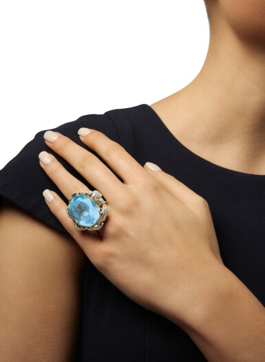 View 2. Thumbnail of Lot 353. AQUAMARINE AND DIAMOND RING, SCHLUMBERGER FOR TIFFANY & CO..