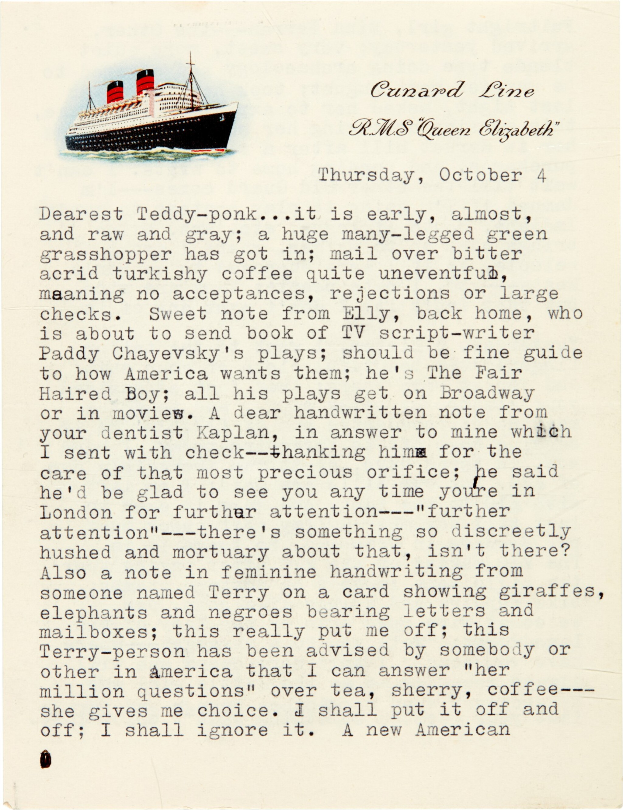View full screen - View 1 of Lot 8. Sylvia Plath | Typed letter signed, to Ted Hughes, with her poem 'Monologue at 3am', 4 October 1956.