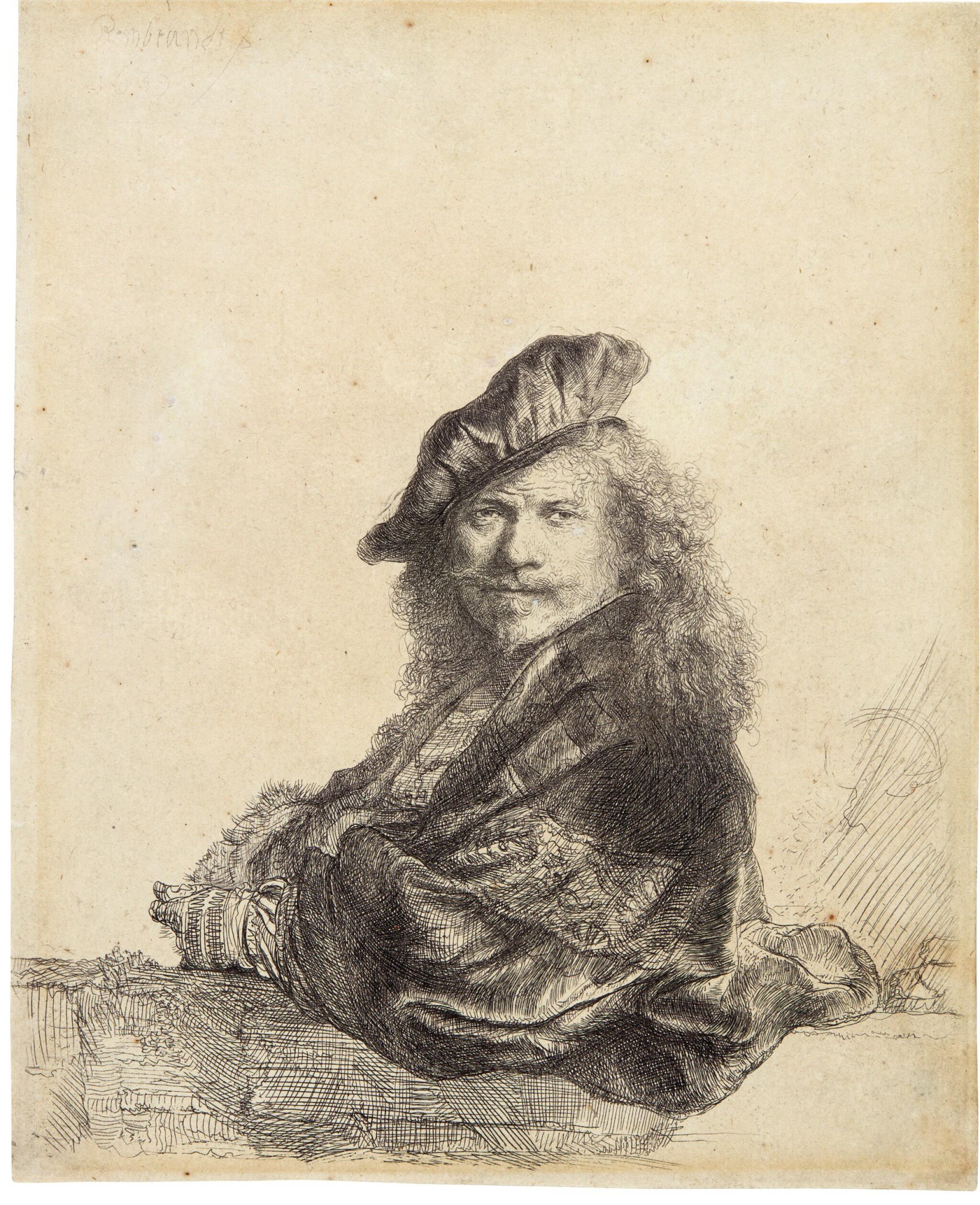 REMBRANDT HARMENSZ. VAN RIJN | SELF-PORTRAIT LEANING ON A STONE SILL (B., HOLL. 21; NEW HOLL. 171; H. 168)