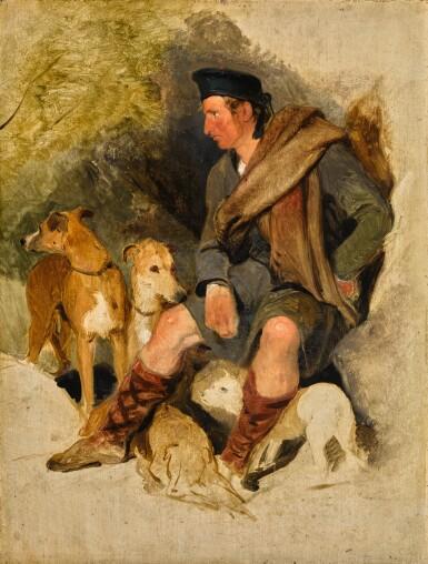 SIR EDWIN HENRY LANDSEER, R.A.   A Highland ghillie with two deerhounds and a terrier   艾德文・亨利・蘭希爾爵士,R.A.   《蘇格蘭高地上的侍從與兩隻獵鹿犬和㹴犬》