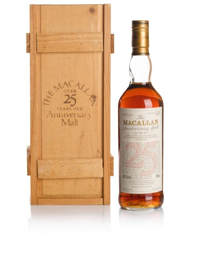 View 1. Thumbnail of Lot 45. THE MACALLAN 25 YEAR OLD ANNIVERSARY MALT 43.0 ABV 1966 .