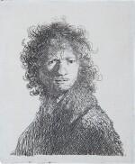 REMBRANDT HARMENSZ. VAN RIJN   SELF-PORTRAIT, FROWNING: BUST (B., HOLL. 10; NEW HOLL. 68; H. 30)