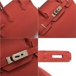 Birkin 30  Rouge Pivoine Colour in Togo leather with palladium hardware. Hermès. 2014.