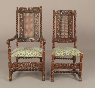 View 3. Thumbnail of Lot 508. AN ASSEMBLED SET OF TEN WILLIAM AND MARY CARVED AND TURNED CANED WALNUT CHAIRS, LATE 17TH CENTURY.