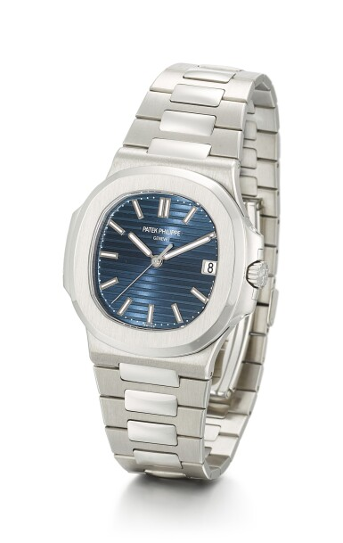View 2. Thumbnail of Lot 24. PATEK PHILIPPE | NAUTILUS, REFERENCE 5711, A BRAND NEW PLATINUM WRISTWATCH WITH DATE, BLUE JEANS DIAL AND BRACELET, CIRCA 2014       .
