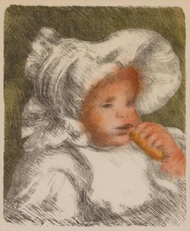 View 1. Thumbnail of Lot 63. L'enfant au biscuit (Jean Renoir) (Delteil, Stella 31).