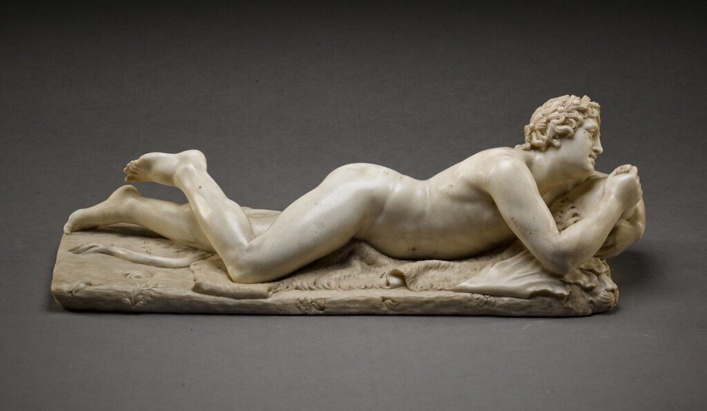 ATTRIBUTED TO DOMENICO PIERATTI (1600-1656) | SATYR LYING ON A PANTHER SKIN