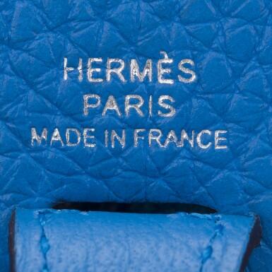 View 6. Thumbnail of Lot 17. Hermès Bleu Zanizbar Evelyne TPM of Clemence Leather with Palladium Hardware.