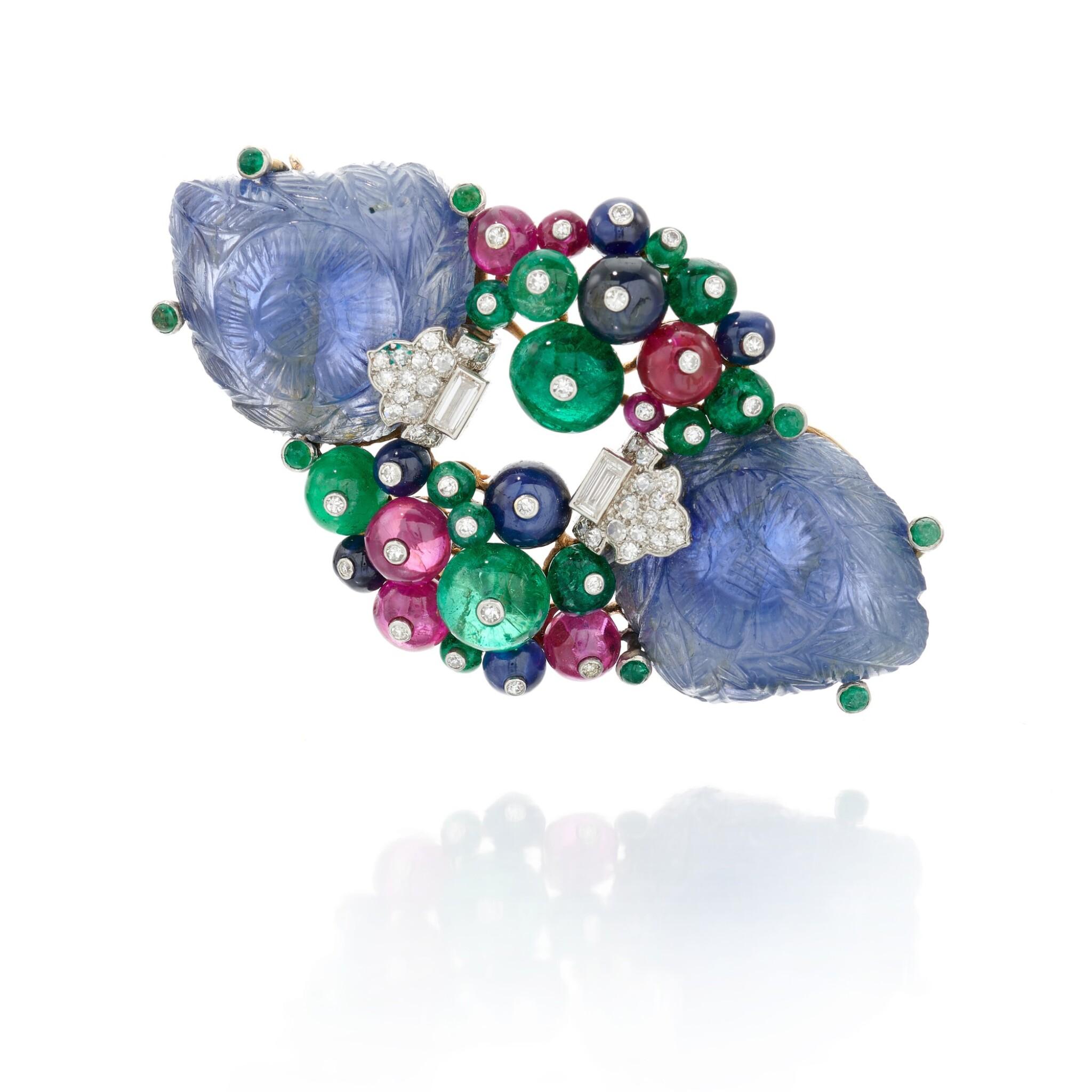 View full screen - View 1 of Lot 22. Sapphire, emerald, ruby and diamond Tutti Frutti brooch/pendant (Spilla/pendente con zaffiri, smeraldi, rubini e diamanti, Tutti Frutti).