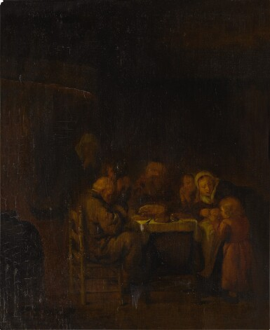 View 2. Thumbnail of Lot 19. An interior with a family at supper.