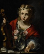 NORTHERN ITALIAN SCHOOL, 17TH CENTURY | CHILD MUSICIAN PLAYING A VIOLIN, WITH FLOWERS IN A GLASS VASE