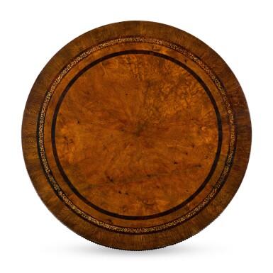 View 2. Thumbnail of Lot 106. A GEORGE IV BURR OAK, ROSEWOOD AND MARQUETRY CENTRE TABLE BY JOSEPH AND SAMUEL HARPER.