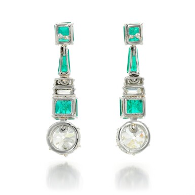 View 3. Thumbnail of Lot 91. PAIR OF DIAMOND AND EMERALD EARRINGS.