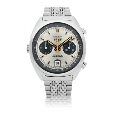 View 1. Thumbnail of Lot 183. CARRERA, REF 1153 S STAINLESS STEEL CHRONOGRAPH WRISTWATCH WITH DATE AND GAY FRERES BRACELET CIRCA 1970.
