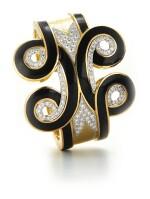 DAVID WEBB | GOLD, ENAMEL AND DIAMOND 'ARABESQUE' CUFF-BRACELET