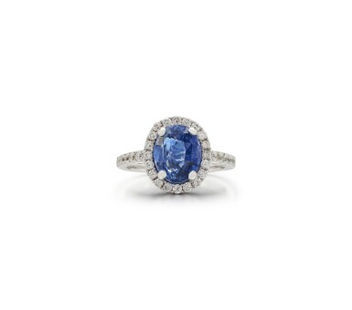 View 1. Thumbnail of Lot 44. SAPPHIRE AND DIAMOND RING.