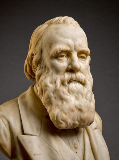 SIR JOSEPH EDGAR BOEHM R.A.   BUST OF A MAN, POSSIBLY CHARLES DARWIN (1809-1882)
