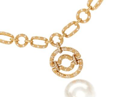 View 1. Thumbnail of Lot 90. Diamond Pendant-necklace (Collana con pendente in diamanti).