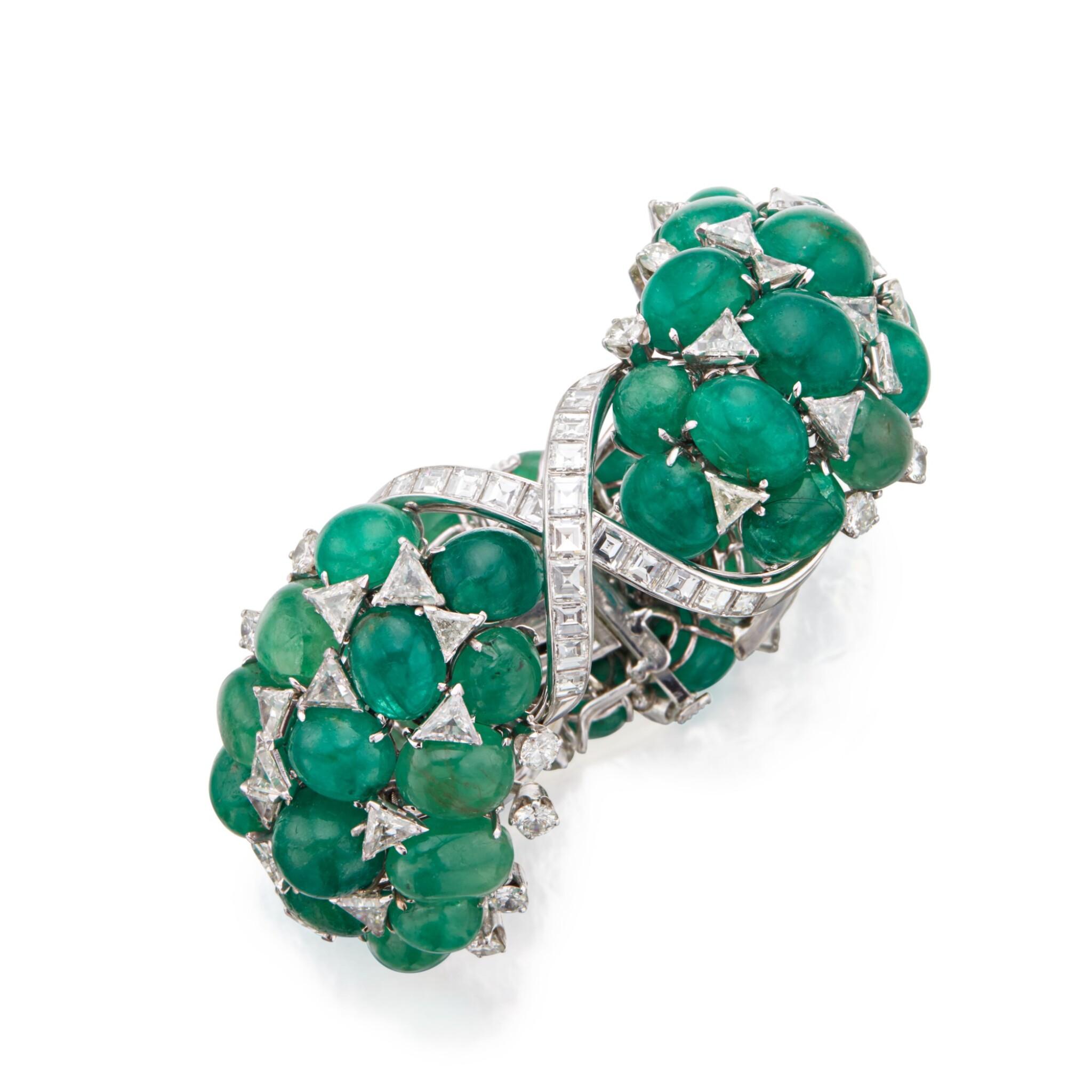 View 1 of Lot 60. David Webb | Emerald and Diamond Bracelet.